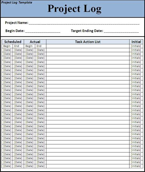 Project Log Template project log template all free templates excel word