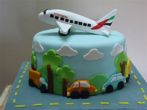 airplane made airplane made of gumpaste cars and trees clouds al fondant