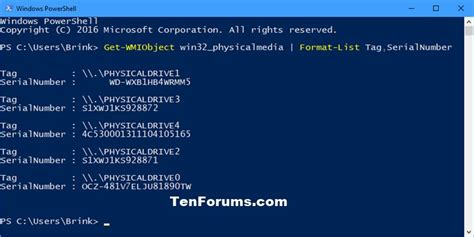 format hard drive powershell find serial number of hard drive in windows windows 10