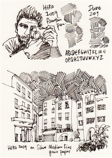 Sketches Here And There Summary by Review 7009 Pen With Fude Nib Parka Blogs