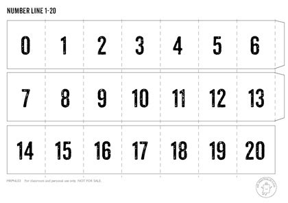 8 best images of large printable number line to 20