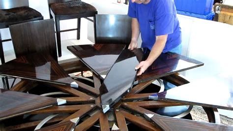 Round Expanding Dining Table theodore alexander robert jupe expansion table in action