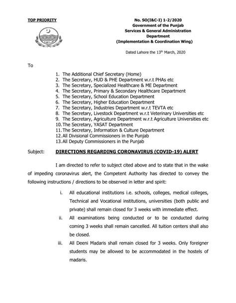 Punjab Holiday Notification on Coronavirus Outbreak (16
