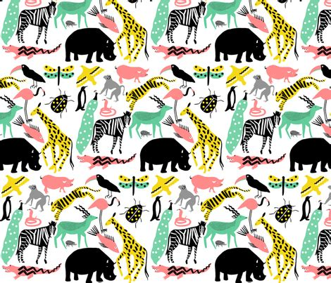 design pattern for zoo zoo fabric lucie sheridan spoonflower