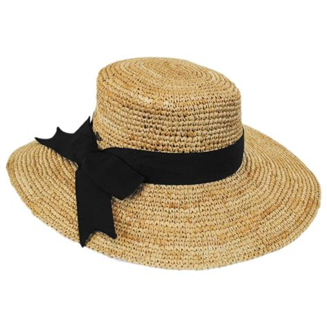 scala side bow organic raffia straw boater hat straw hats