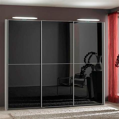 Glass Door Wardrobe Designs Engaging Black Glass Sliding Door Wardrobe Design Ideas Along With Three Panels And Aluminum