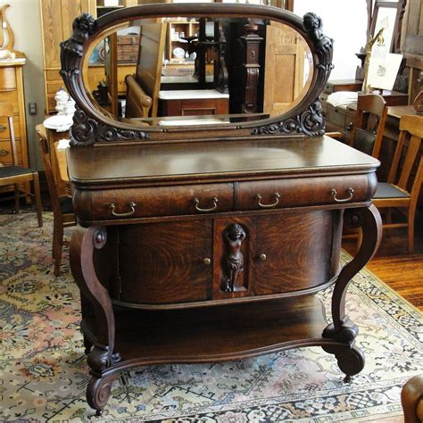 victorian dresser with oval mirror quarter sawn oak sideboard with oval mirror and cherubs
