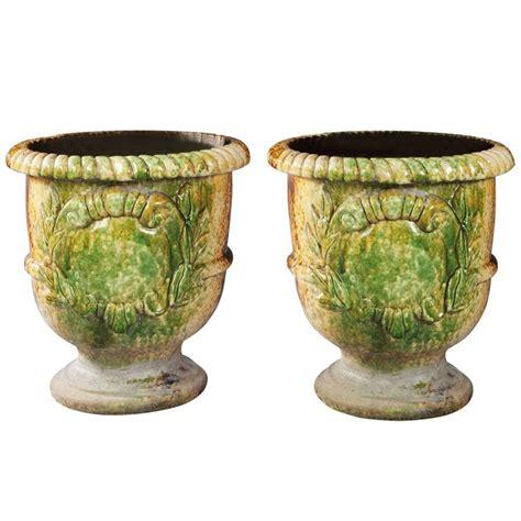 Pair Of Italian Large Glazed Terracotta Garden Pots For Large Terracotta Planters