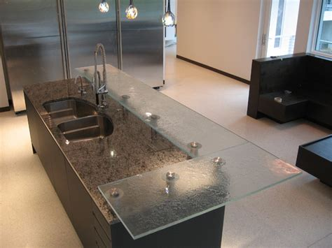 glass bar top raised firemolded glass bar top contemporary kitchen