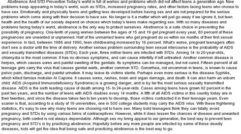Abstinence Essay by Abstinence And Std Prevention Today S World At Essaypedia