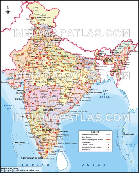 Printable Road Map Of India | road map of india india road map india roads