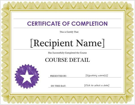 microsoft templates for certificates of completion free certificate of completion template microsoft word