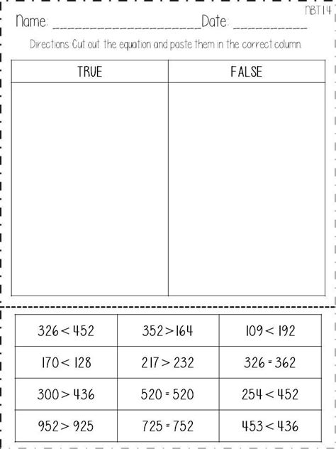 Comparing 3 Digit Numbers Worksheets by