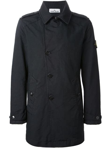 Island Trenchcoat by Island Single Breasted Trench Coat In Blue For