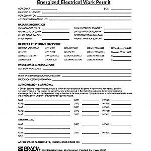 energized electrical work permit template brady work permit pk25 13k855 99287 grainger