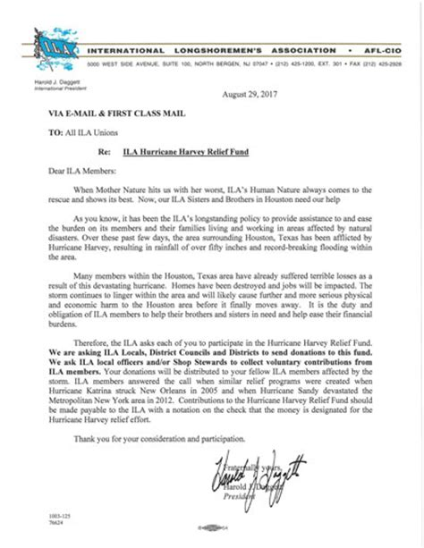 Fundraising Letter To Board Members ila afl cio launches fundraising drive to aide tx ila