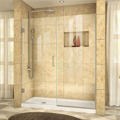 E Shower Door Dreamline Unidoor Plus 60 In To 60 1 2 In X 72 In Frameless Hinged Shower Door In Brushed