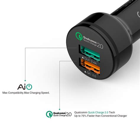 aukey dual usb qualcomm charge 2 0 car charger