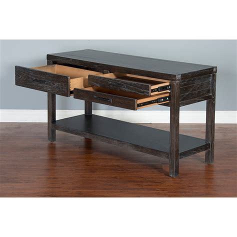 sofa table with 3 drawers designs dundee rustic sofa table with 3 drawers