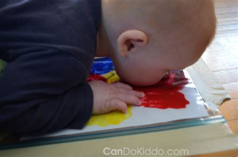 painting for babies tummy time finger painting sensory play cando kiddo