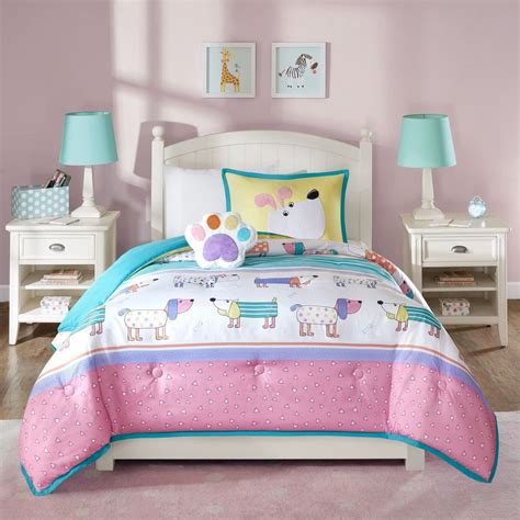 girls dog puppy queen full bedding set pink teal white