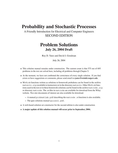 Probability and stochastic processes yates 3rd edition pdf