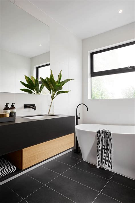 modern black and white bathroom ideas modern black and white bathroom with black tile matte black plumbing fixtures