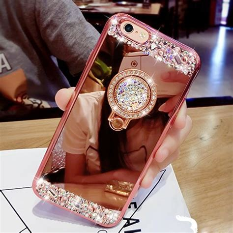 Softcase Flower Ring Stand For Iphone 7 aliexpress buy luxury soft rubber rhinestone glitter mirror for