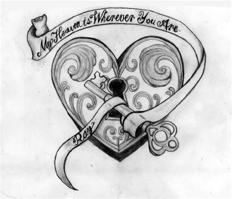 heart lock n key tattoo sketch tattoobite com