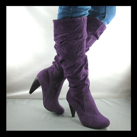 new purple high heel womens slouch boots size 10 ebay