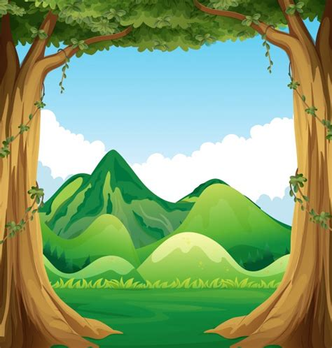 wallpaper animasi vektor nature scene with hills background illustration vector