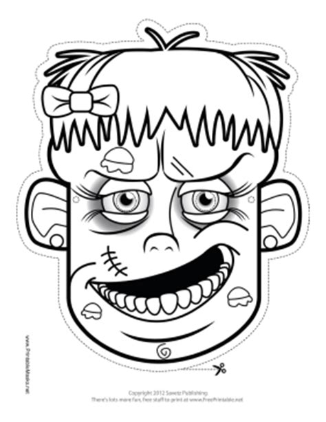zombie mask coloring page printable female zombie mask to color mask