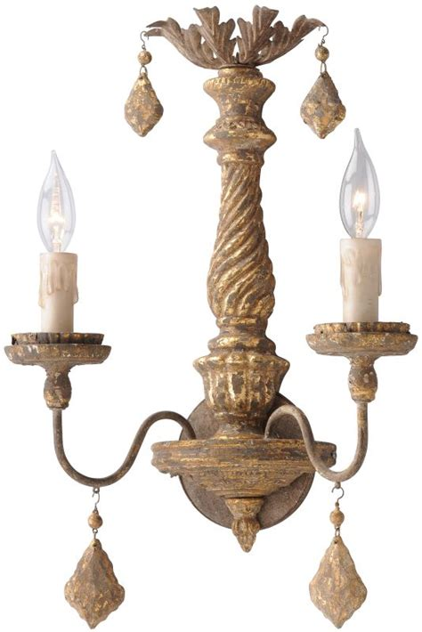 weathered french country bath sconce 2 light shades of troy lighting b3992 antique french gold calais 2 light