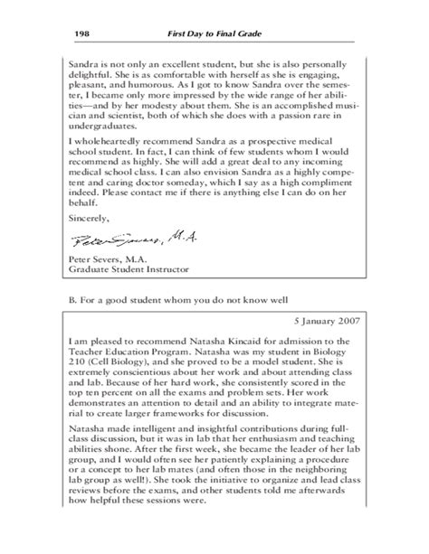 College Letter Of Recommendation For Average Student Sle Letters Of Recommendation Free