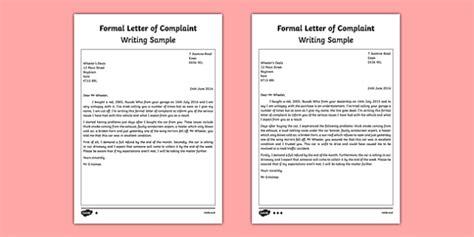 formal letter complaint writing sample esl writing
