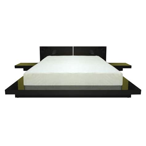 fujian platform bed with 2 nightstands in black finish