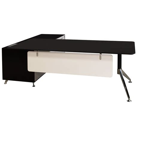 Black L Shape Desk Manager Right Return Melamine L Shape Desk Black And White National Office Interiors