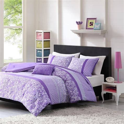 piece floral comforter set polyester cover  fill purple fullqueen size ebay