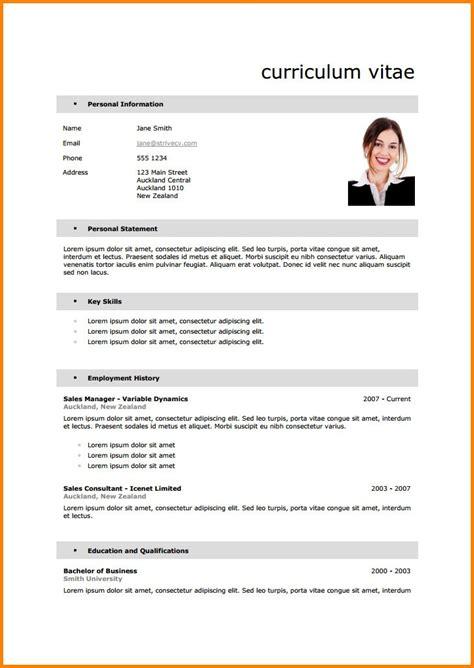 Exemples De Curriculum Vitae by Exemples Des Cv En Francais Modele Cv Sous Word Degisco