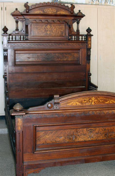 antique bed eastlake style walnut w burl inlays 1800 s w
