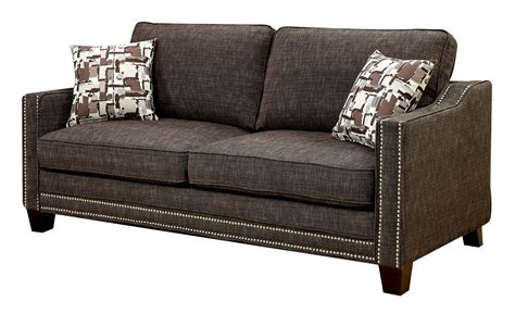 kerian brown chenille sofa cm6157br sf furniture of america