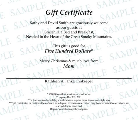 bed and breakfast gift card gift certificates gracehill bed and breakfast