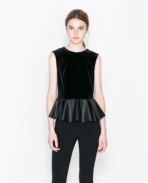 Zara Top zara velvet peplum top in black lyst