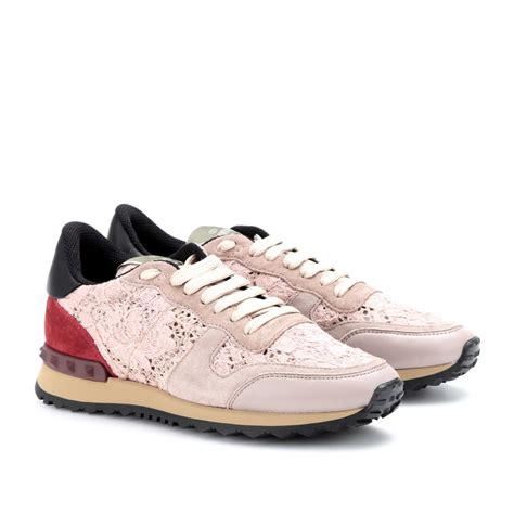 valentino sneakers valentino rockstud sneakers with lace in white pink lyst