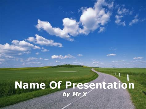 powerpoint template road an empty road without any cars powerpoint template