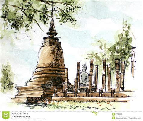 thailand ancient pagoda painting royalty free stock image image 31189086