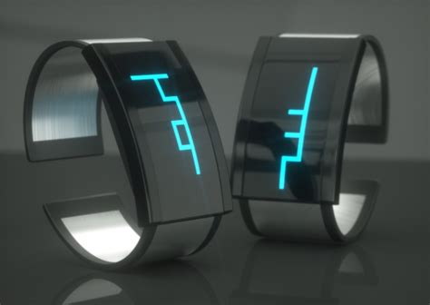 futuristic clock shift watch joins clock hand and digits in one continuous