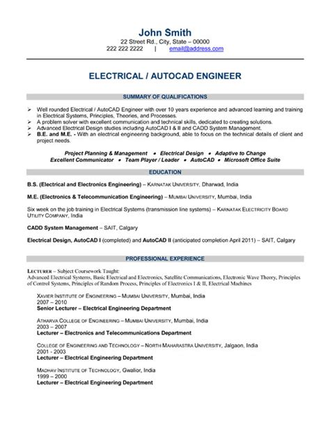 engineer resume format 2015 chief electrical engineer resume