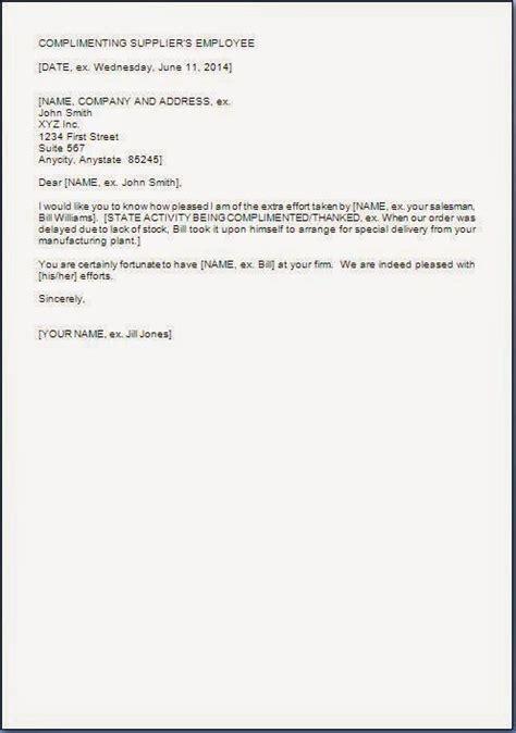 compliment letter format for good service