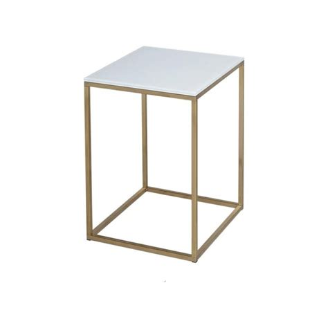 White Side Table Buy White Glass And Gold Metal Contemporary Square Side Table